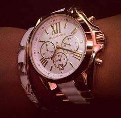 Pink and Gold Michael Kors Watch and Bracelet