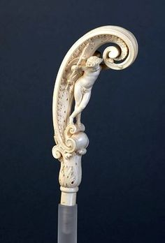 Victorian inspiration: Parasol handle Place of origin: Dieppe, France (made) Date: 1859 (made) Artist/Maker: Norest, Jean, born 1822 - died 1870 (sculptor) Materials and Techniques: Carved ivory Walking Sticks And Canes, Wooden Walking Sticks, Walking Canes, Antique Fans, Cane Handles, Umbrellas Parasols, Cannes, Bone Carving, Objet D'art