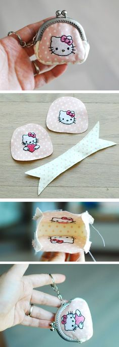 The Best Tutorial Mini Coin Purse Breathtaking Mini coin purse with stee. Diy Coin Purse, Coin Purse Tutorial, Coin Purses, Fabric Crafts, Sewing Crafts, Sewing Projects, Bag Patterns To Sew, Sewing Patterns, Tote Pattern