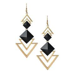 Black Gold Two Tone Geometry Motif Drop Statement Earrings