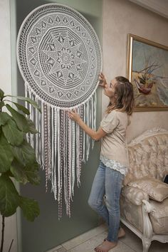 Mandala anti-stress Large dream catcher wall hanging Dreamcatcher Stair wall decor Rustic home decor shabby chic Wedding gift - Mandala Antistress Big Dream Eye-Catcher Wall Hanging Grand Dream Catcher, Large Dream Catcher, Dream Catcher Boho, Dream Catcher Decor, Doily Dream Catchers, Stair Wall Decor, Stair Walls, Rustic Wall Decor, Wall Décor