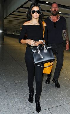 Airport Style --Kendall Jenner seen arriving at London Heathrow Airport this morning