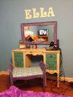 Adorable bedroom refab I did for a super sweet 12 year old client.