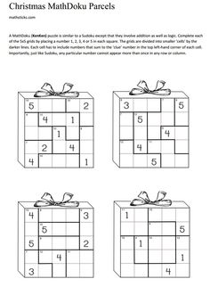 Here are four MathDoku, or KenKen type puzzles. We've simplified the more traditional version so that this only includes addition. The idea is for the chil. Christmas Activities For School, Christmas Maths, Teaching Math, Teaching Resources, Maths Puzzles, Number Puzzles, Math Quotes, Math Classroom, Fun Math