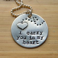 I carry you in my heart / infant loss / remembrance necklace - $42