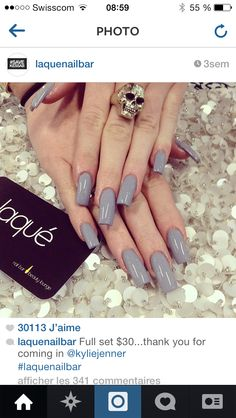 Kylie Jenners nails - Nails by: Laque' Nail Bar Wow, I'm loving this! Nail Art* Colorful Nails* Best Manicure* Cool Fashion*Love it Gray Nails, Love Nails, Shiny Nails, Uñas Kylie Jenner, Acrylic Nails Coffin Matte, Coffin Nail, Kylie Nails, Laque Nail Bar, Nail Games