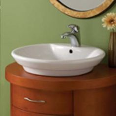 Decolav 1460-CWH Round Step Vitreous China Vessel with Overflow - White