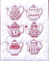Tea Pots Embroidery Pattern - Would also look cute in a variety of colors!