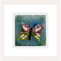'Butterfly On White' by Natasha McCullough. This piece has been hand crafted, fused & framed by Spires Art in Omagh. Available in size X Glass Art, Butterfly, Range, Artist, Crafts, Design, Cookers, Manualidades, Jar Art