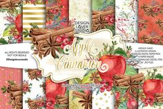 Apple Cinnamon digital paper pack by designloverstudio on Envato Elements Coral Watercolor, Watercolor Pattern, Watercolor Flowers, Christmas Clipart, Christmas Greetings, Graphic Patterns, Vintage Patterns, Flowers Dp, Fruit Pattern