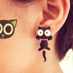 Handmade Fimo  Free Shipping Earring  Cartoon Cat Animal Flowers 925 Silver Stud Earring For Girls Polymer Clay Soil  accessorie US $17.53