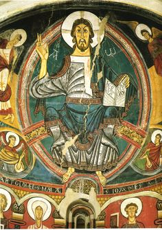 """arthistorycq: """"Christ with Evangelists Located in the Museu Nacional d'Art de Catalunya, Barcelona c. 1123 Fresco Here we have Christ in Majesty, he is center in a mandala with the typical speaking gesture. With his right hand raised, extending two. Christ Pantocrator, Romanesque Art, Carolingian, Medieval Paintings, Web Gallery, Art Story, Tempera, Medieval Art, Mural Painting"""