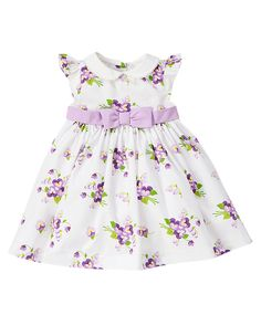 All dressed up in pretty petals. Bright allover floral print adds darling style to our soft cotton poplin dress. Sweet design features a big bow at the waist plus a picot trim peter-pan collar. Includes full lining for comfort with a tulle-enhanced underlayer for extra flounce. 100% brushed cotton poplin. For sizes 0-3 to 18-24 months. Buttons in back for easy dressing. Cotton batiste lining with tulle underlayer. Includes diaper cover. Machine washable. Imported. Collection Name: Pretty…