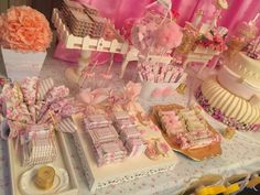 Candy table at a shabby chic vintage birthday party! See more party ideas at CatchMyParty.com!