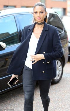Looking great: Alesha Dixon, 38, looked the epitome of sophistication as she arrived at ITV studios on Thursday in a navy jacket with lavish golden buttons