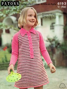 Items similar to Pdf Vintage Girl PINK Dress Crochet Pattern Patons 6193 Baby Doll A Line Houndstooth Groovy Stripey Collar Party Kitsch on Etsy Vintage Crochet Patterns, Vintage Knitting, Sewing Patterns, Crochet Dress Girl, Crochet Baby, Crochet Clothes, Baby Sweaters, Vintage Girls, Collar Dress