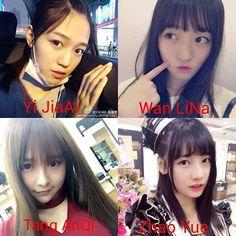 Lanjut perkenalan member SNH48 Team NII.  Pict no 1 adalah Yi JiaAi (Ai-chan). Hobbies: Singing, painting, laughing, guitar, piano, and home dance.  Pict no 2 adalah Wan LiNa (Nana). Hobbies: Watching anime, listening to music (especially anime songs), reading novels, singing, and painting.  Pict no 3 adalah Tang AnQi (Angel). Ini member yang waktu bulan maret badannya kebakar :( Pict no 4 adalah Zhao Yue (Akira). Hobbies: Cosplay, singing, modern ballet, dance.  Ada yang mau kalian jadikan…