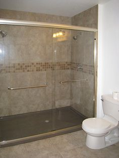 Tiled Shower Walls With Mosaic Accent And Onyx Solid 1 Piece Base Elegance Improved Function Compared To A Complete Tile