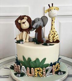 Jungle Birthday Cakes, Jungle Theme Cakes, Baby Boy Birthday Cake, Boys 1st Birthday Cake, Animal Birthday Cakes, Safari Cakes, Safari Birthday Party, Baby Boy Cakes, Baby First Cake