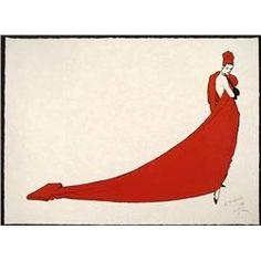 Rene Gruau Red Dress Women Signed Pencil Art Print