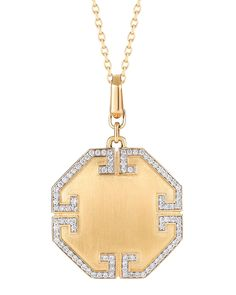Metropolis 18k Solid Octagonal Pendant with Deco Diamonds - Ivanka Trump
