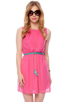 Belted Beverly Tank Dress - $24  FINAL SALE: no returns or exchanges        color      coral      fuchsia      royal      seafoam      yellow