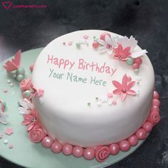 Flowers Birthday Cake With Writing With Name Photo - Happy Birthday Wishes