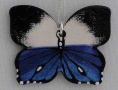 Sapphire Blue Hand Painted Butterfly Necklace by www.bflyjune.Etsy.com $35.00