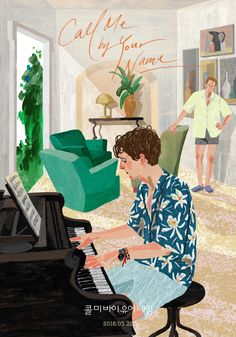 drawings - Call Me By Your Name Drawing Elio playing the Piano Poster Poster Art, Kunst Poster, Poster Prints, Wall Prints, Art Print, Art And Illustration, Illustrations And Posters, Chicken Illustration, Vintage Sticker