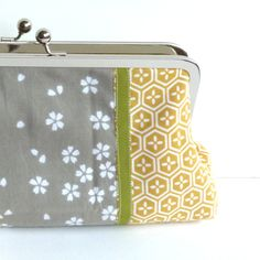 Grey and Yellow Japanese Cotton Blossom Geometric Print Summer Clutch Bag and Coin Purse Combo. $78.00, via Etsy.