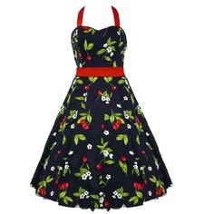 50's Cherry Halterneck Dress Red - XL = 12 (US), 16 (UK)
