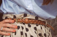 a button down with a polka dot skirt