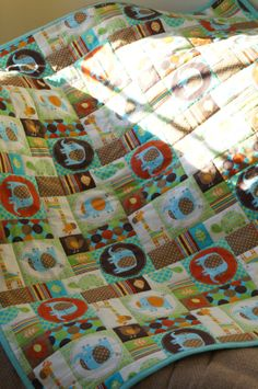 Boys Quilt  Baby Blanket Jungle Themed Elephant by MyBlankies
