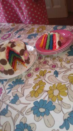 Rainbow cake🌈 No Bake Treats, Rainbow, Baking, Cake, How To Make, Bread Making, Pie Cake, Rainbows, Patisserie