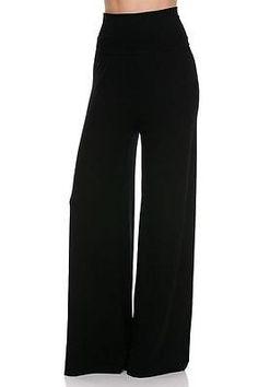 SEXY BLACK PALAZZO WIDE LEG HIGH WAIST BOHO PANTS STRETCH LONG URBAN FREE L