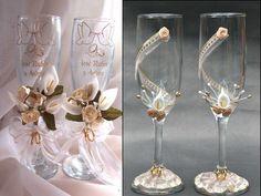 Ideas originales Decoracion de copas para boda.Imponentes Imagenes.