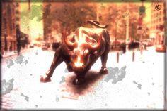 бычара биржевой в NY, символ подъема акций вверх