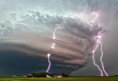 Awesomely structured supercell with CG lightning bolts. June This is a stacked image of 3 pictures. Photo by Basehunters Chasing - - - Weather Cloud, Wild Weather, Weather Storm, Nature Pictures, Cool Pictures, Storm Pictures, Fuerza Natural, Skier, Tornados
