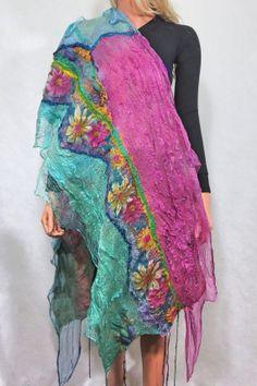 Nuno felted scarf Chunky  Long Felt Shaw - lf Textured Silk Wool Multicolor Felt Scarf OOAK
