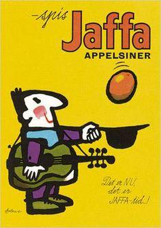 Jaffa oranges poster by Ib Antoni Danish artist. Retro Advertising, Vintage Advertisements, Vintage Ads, Vintage Posters, Retro Ads, Saul Bass, Art Design, Cover Design, Luba Lukova