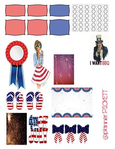 Free Planner Stickers fitness 4th of july red white and blue printable erin condren the happy planner plum planner limelife planner