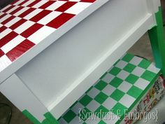 diy furniture | checkerboard end table painting idea {sawdust & embryos}