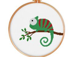 chameleon cross stitch pattern funny animal by ILoveMyDesigns