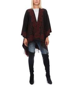 This Black & Wine Scroll Poncho is perfect! #zulilyfinds