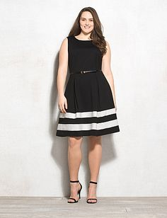 Plus Size Colorblock Fit-and-Flare Dress Hell yes! Curvy Fashion, Modest Fashion, Plus Size Fashion, Ladies Fashion, Women's Fashion, Fit N Flare Dress, Fit And Flare, Kentucky Derby Outfit, Derby Outfits