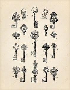 Vintage Ornate KEYS - Instant download - digital printable clipart - Fabric Transfer graphics print & iron on t-shirt, tote, cushion, pillow