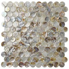 Merola Tile Conchella Penny Natural 11-1/8 in. x 11-5/8 in. x 2 mm Natural Seashell Mosaic Tile, Natural Shell/High Sheen