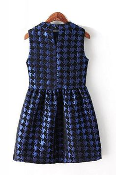 Houndstooth Pattern Round Neck Sleeveless Dress