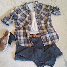 So ready for fall! Can't wait to start layering away! Perfect fall outfit! #cynjin #cynjinofficial #utilitytrousers #buttonup #plaid #fall #available #online #checkusout #regram
