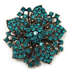 Image detail for -Victorian Corsage Flower Brooch (Antique Gold & Teal) [B01662]
